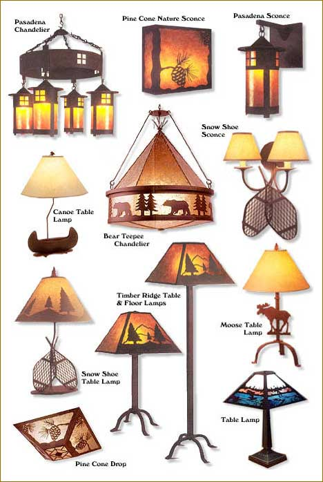 Saranac Lake Rustic Furniture Adirondack Rustic Lamps Sconces Table Lamps Wall Lamps Chandeliers and more